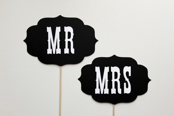 Wedding props: From moustaches to Mr & Mrs signs