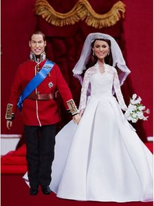 Hamleys sell Royal Wedding Miniatures: Kate and Will miniture wedding dolls