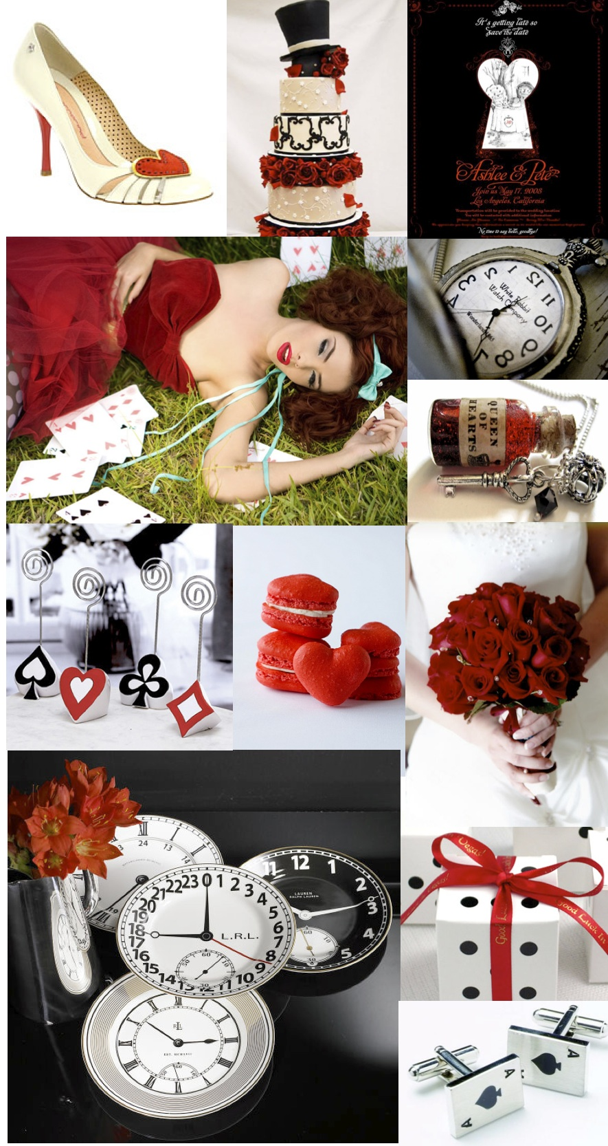 Alice In Wonderland Wedding: Queen Of Hearts Inspiration Board