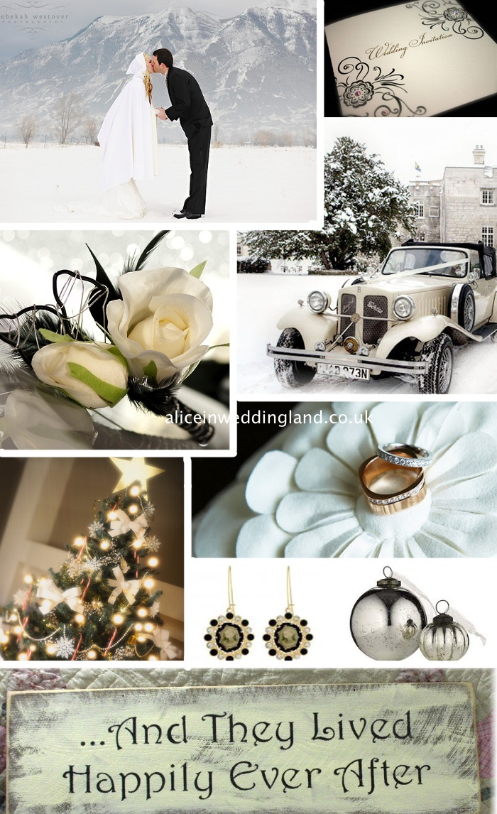 Christmas Wedding Inspiration Board: a unique Ivory and Black love affair