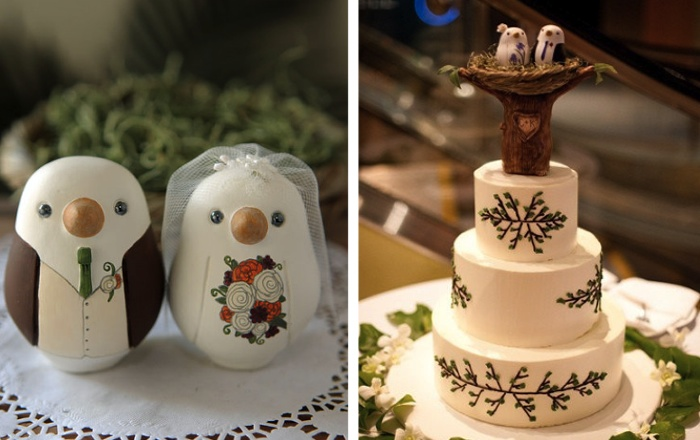 Wedding Cake idea: hand-crafted cake toppers