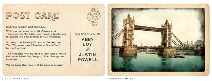 Vintage Wedding Invitations: All aboard the Royal Steamline