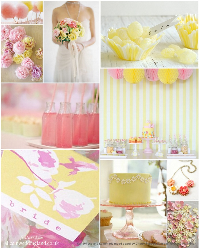 Candyfloss and lemonade mood board by wedding planner Stacey-Marie Chalk