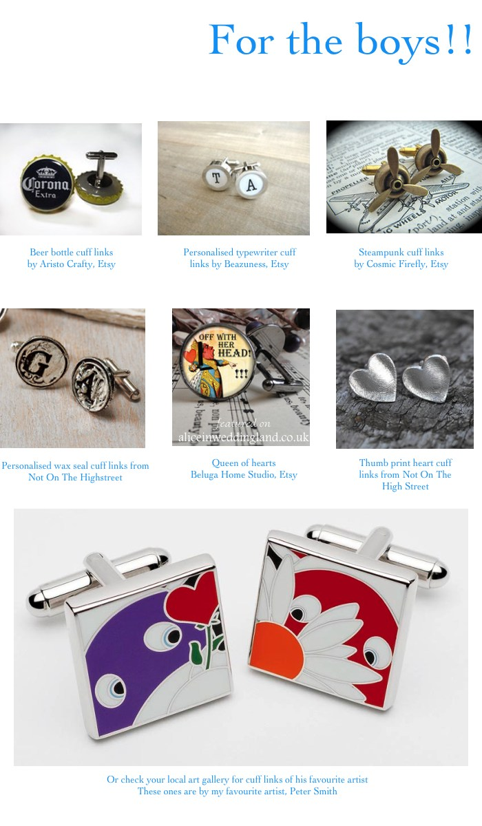 Unique wedding ideas: cuff links for the Groom