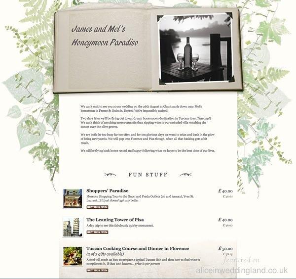 Buy Our Honeymoon: a honeymoon gift list.