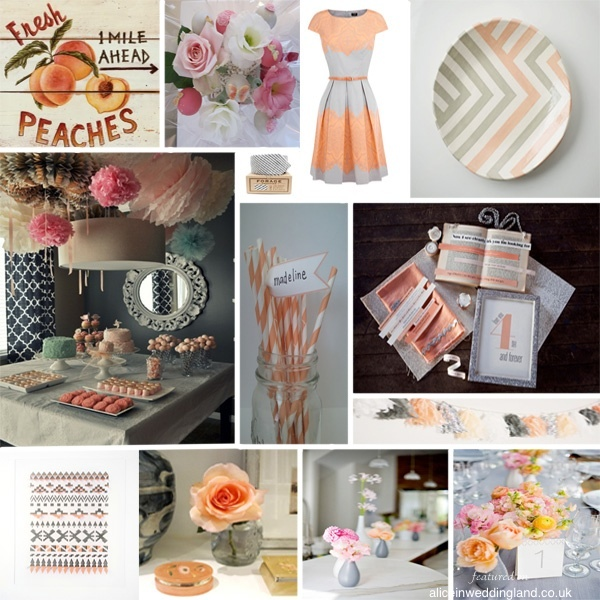 Mood Board Monday: wedding inspiration board in Peach and Grey