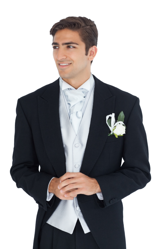 Pleased attractive young groom looking away on white background